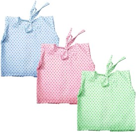 Cherish Maternity Dotted Back Tie Jabla Baby Girl's Vest Pack Of 3