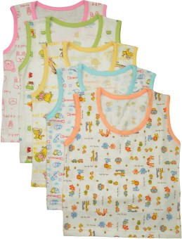 Myfaa Cotton Baby Boy's Vest Pack Of 5