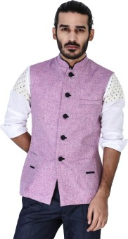 Mr Button Lavender Textured Linen Nehru Jacket With Blue Detail Solid Men's Waistcoat