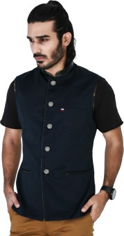 Mr Button Nevy Blue Cotton Nehru Jacket With Letherite Collar Solid Men's Waistcoat