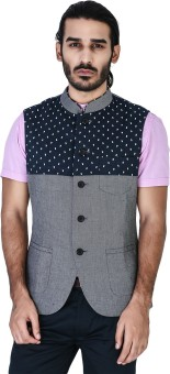 Mr Button Denim Linen With Abmi Front Yoke Panel Nehru Jacket Solid Men's Waistcoat