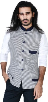 Mr Button Blue Stripe Linen Nehru Jacket With Blue Collar Striped Men's Waistcoat