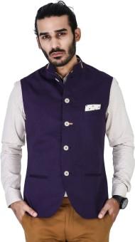 Mr Button Purple Cotton Nehru Jacket With Mustard Detail On Collar Solid Men's Waistcoat