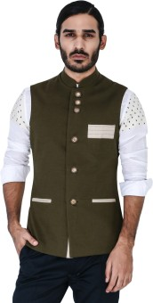Mr Button Green Linen Nehru Jacket With Hamp Detail Solid Men's Waistcoat