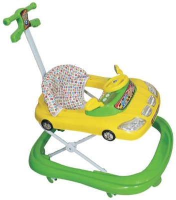Panda Baby Yellow & Green Car Walker with handle (Yellow)