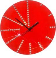 Zeeshaan Round Diamante Red Analog Wall Clock Red