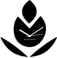 Blacksmith Black Flower Vector Analog Wall Clock Black