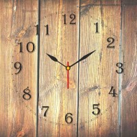 Go Hooked Old Wood Print Analog Wall Clock Multicolor