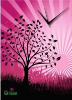 G-land Wooden Pink Night Analog Wall Clock (Multicolor)