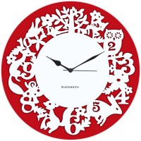 Blacksmith Red Animals Jungle Analog Wall Clock Red