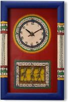 Aapno Rajasthan Tribal Art Hand Painted Analog Wall Clock Multicolor