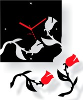 Zeeshaan Analog Wall Clock Black, Red, With Glass