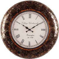 RDBH Glass Mosaic Analog Wall Clock Brown