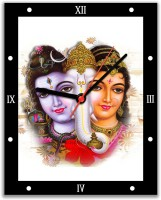 Lovely Collection Shiv, Parvati And Ganesha Religious Analog Wall Clock Multicolor