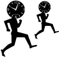 Blacksmith Analog Wall Clock Twins Black, Without Glass