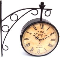 Artondoor 6 Inch Station Double Side Antique Dial Analog Wall Clock - Black