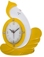 Urban Monk Creations Analog Wall Clock (Yellow White, With Glass)