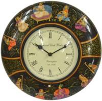Purpledip Rajasthani Miniature Painting Analog Wall Clock (Multicolor)