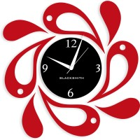 Blacksmith Black & Red Twirling Drops Analog Wall Clock Red