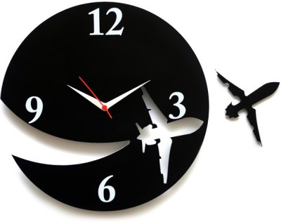 Blacksmith Aeroplane Analog Wall Clock Black