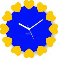 Zeeshaan Blossoming Hearts Blue Yellow Analog Wall Clock Blue, Yellow