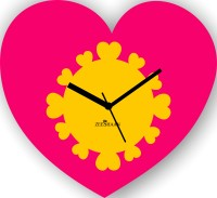 Zeeshaan Heart In Heart Pink And Yellow Analog Wall Clock Pink, Yellow