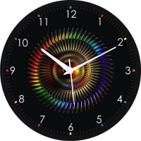 Regent Absract Colourful Design Analog Wall Clock (Shiny Black)