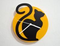 Blacksmith Cartoon Cat Analog Wall Clock (Black, Yellow)