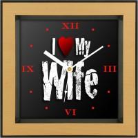 Shopping Monster Designer Love My Wife Designer Analog Wall Clock (Brown)