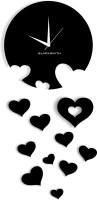 Blacksmith Falling Hearts Black Analog Wall Clock Black