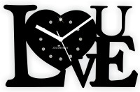 Zeeshaan Just Love Diamante Black Analog Wall Clock Black