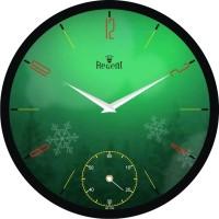 Regent Soft Green Flower Analog Wall Clock (Black)