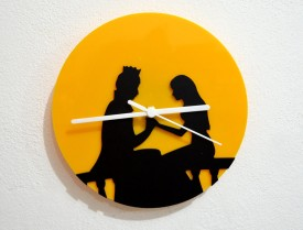 Blacksmith Prince And Princess Analog Wall Clock (Black, Yellow)