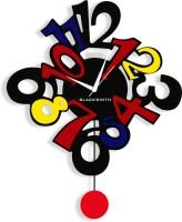 Blacksmith Funky Numberized Abstract Pendulum Black Analog Wall Clock Black