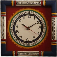 Unravel India Warli Painted Wooden Analog Wall Clock (Red, Blue)