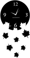 Blacksmith Falling Leaves Black Analog Wall Clock Black