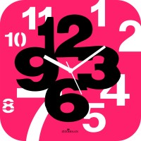 Zeeshaan Analog Wall Clock Pink, Black