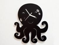 Blacksmith Black Cartoon Octopus Analog Wall Clock (Black)