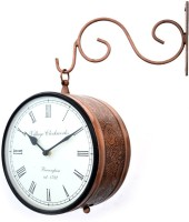 Bangalore Handicrafts Double Sided Railway Station/Platform Analog 25 Cm Dia Wall Clock Copper Antique