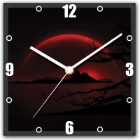 StyBuzz Nature In Dark Red Analog Wall Clock (Multicolor)