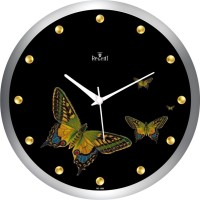 Regent Gold Butterfly Analog Wall Clock (Shiny Silver)