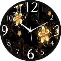 Regent Glowing Gloden Flower Analog Wall Clock (Black)
