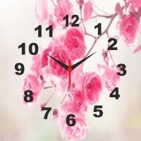 Go Hooked Designer Pink Flowers Print Analog Wall Clock Multicolor