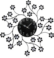 Victor105 Moulded Wrought Iron Designer Crystal Studded Analog 55 Cm Dia Wall Clock Black, With Glass