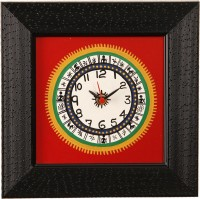 Unravel India Warli Hand Painted Wooden Analog Wall Clock (Black Border With Red Base)