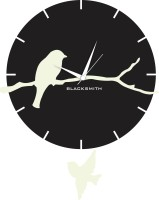 Blacksmith Bird With Pendulum Black & White Analog Wall Clock Black