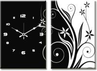 Design O Vista Double Panel DV2-L-R3014 Analog Wall Clock (Multicolor)