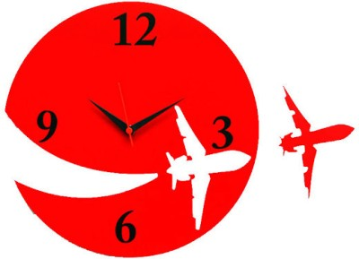 Panache Aeroplane Analog Wall Clock Red