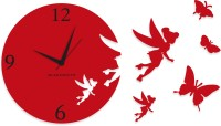 Blacksmith Red Angel Butterfly Analog Wall Clock Red