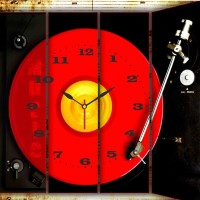 Go Hooked DJ Red Printed Analog Wall Clock Multicolor